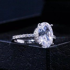 NEW 2CT Oval Cut Solitaire Diamond 925 Silver Ring